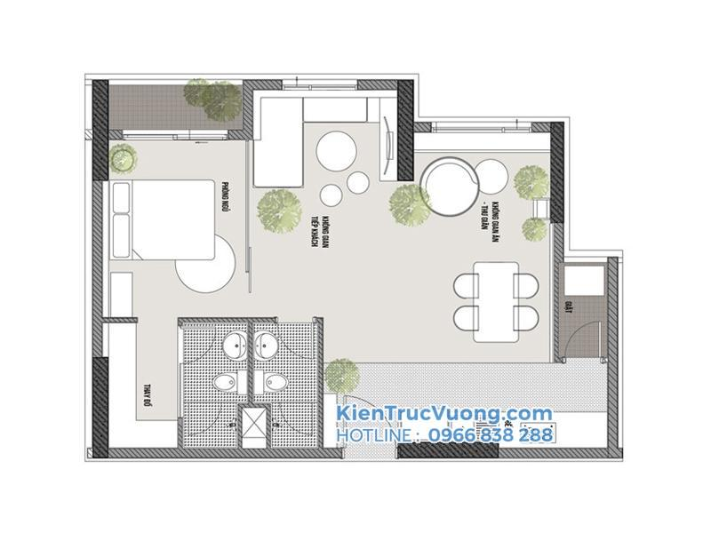 Thiết kế nhà chung cư 72m2